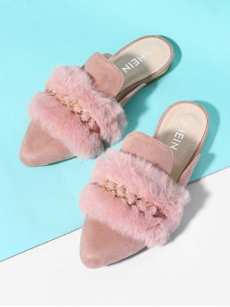 Casual Pink Faux Fur Decorated Point Toe Flat Mules