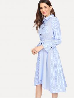 Blue Striped Belted Collar Single Breasted Dress Fashion
