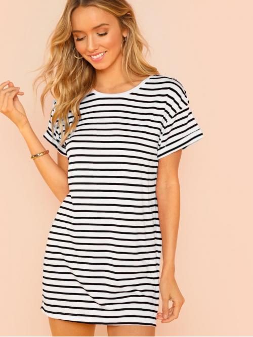 Basics Tee Striped Straight Loose Round Neck Short Sleeve Roll Up Sleeve Natural Black and White Short Length Striped Tee Dress