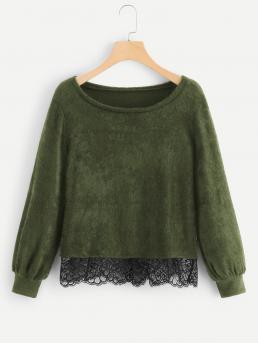 Women's Long Sleeve Pullovers Contrast Lace Shearling Sweater