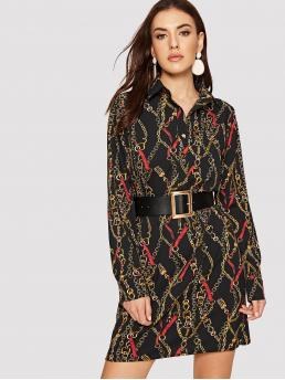 Elegant and Glamorous Straight Collar Long Sleeve Regular Sleeve Natural Multicolor Short Length Chain Print Button Front Belted Dress with Belt