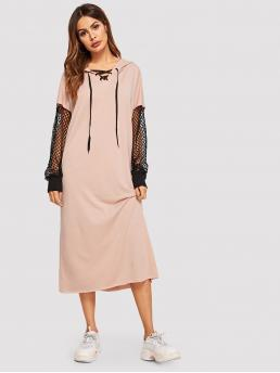 Sporty Dress Plain Hooded Long Sleeve Pink Fishnet Sleeve Hooded Sweatshirt Dress
