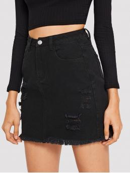 Ripped Detail Frayed Edge Denim Skirt Trending now