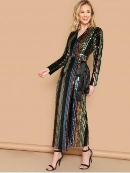 Glamorous Striped Regular Fit V neck Long Sleeve Natural Multicolor Maxi Length Striped Sequin Patched Knot Side Dress