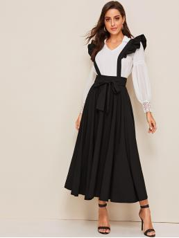 Preppy Pinafore Plain Flared Regular Fit Straps Sleeveless High Waist Black Maxi Length Wide Waistband Self Belted Dress With Ruffle Strap with Belt
