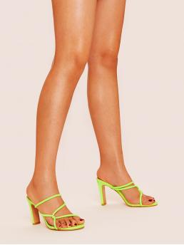 Glamorous Round Toe Green and Neon and Bright Neon Lime Strappy Chunky Mule Heels