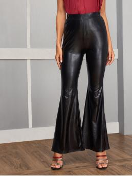 Glamorous Plain Flare Leg Regular Elastic Waist High Waist Black Long Length Solid Flare Leg Patent Pants