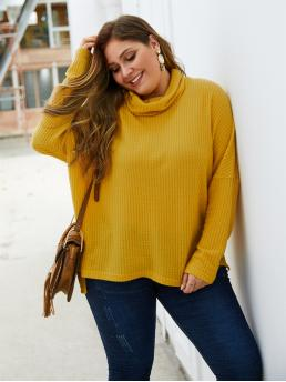 Casual Plain Oversized High Neck Long Sleeve Regular Sleeve Yellow Regular Length Plus High Neck Split Side Sweater