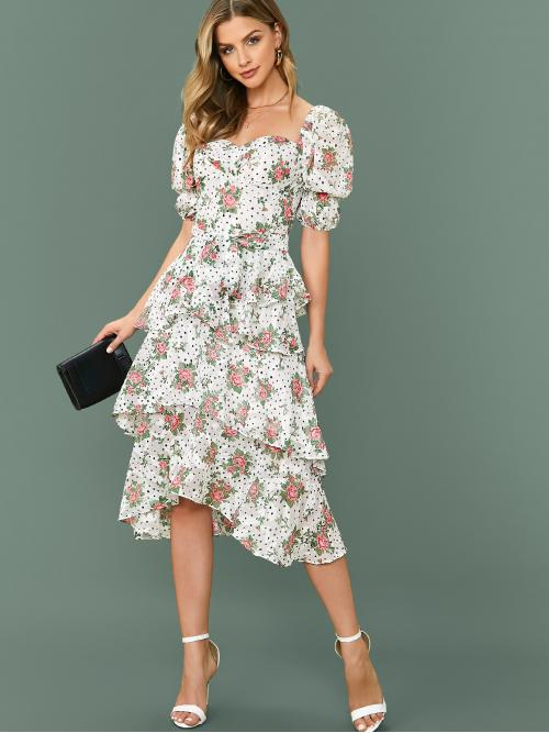 Boho A Line Floral and All Over Print Layered/Tiered Regular Fit Sweetheart Short Sleeve High Waist Multicolor Midi Length Puff Sleeve Self Belted Floral Print Layered Dress with Belt