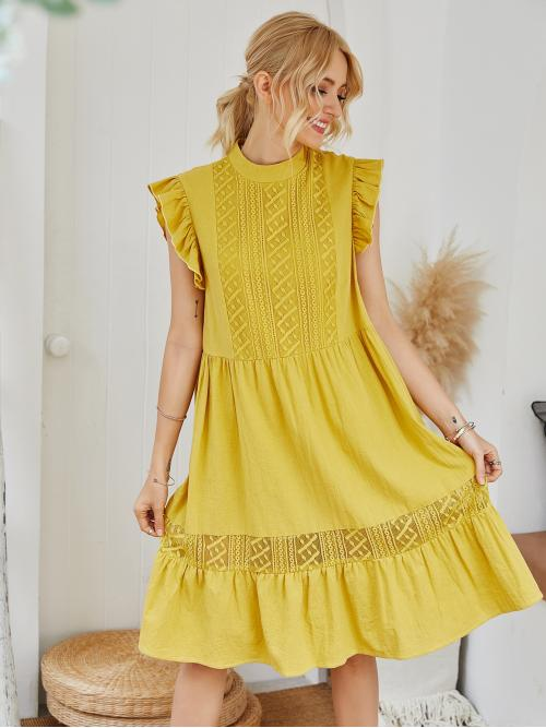 Boho Smock Plain Flounce Loose Stand Collar Sleeveless High Waist Yellow Midi Length Mock Neck Ruffle Cuff Contrast Lace Dress