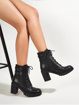 Black Combat Boots Buckle High Heel Decor Heeled Lace-up on Sale