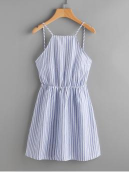Casual Cami Striped Pleated Regular Fit Spaghetti Strap Sleeveless Natural Blue Mini Length Striped Bow Tie Open Back Cami Sundress