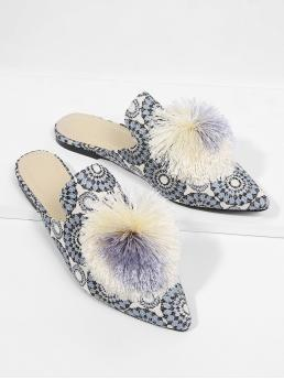 Casual Slippers Point Toe Blue Pom Pom Decorated Flats