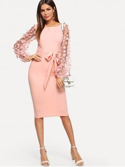 Elegant Pencil Plain Bodycon Boat Neck Long Sleeve Bishop Sleeve Natural Pink Midi Length 3D Applique Mesh Sleeve Self Tie Dress with Belt with Chest Pad