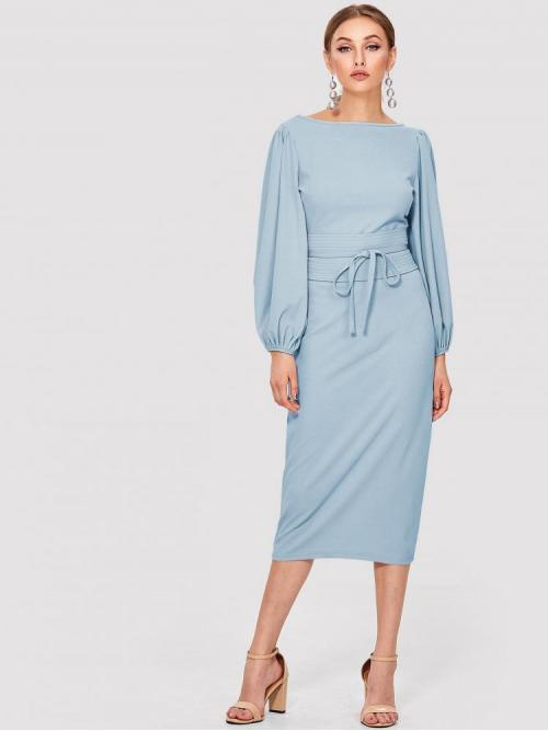 Baby Blue Plain Zipper Boat Neck Lantern Sleeve Self Tie Waist Solid Dress Clearance