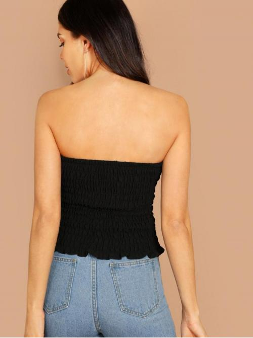Women's Sleeveless Cami Shirred Polyester Frill Trim Bandeau Top