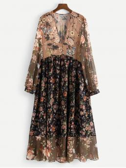 Modest and Boho A Line Floral Flared Regular Fit Deep V Neck Long Sleeve Natural Multicolor Maxi Length Floral Spliced Covered Button Ruffle Hem Dress