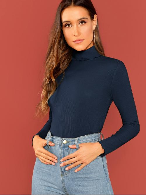 Long Sleeve Top Lettuce Trim Cotton Rib-knit Top Affordable