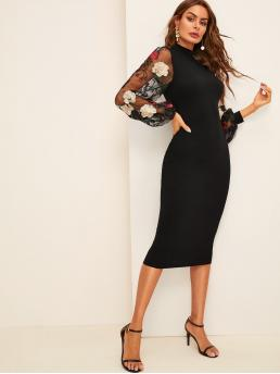 Elegant Bodycon Floral Slim Fit Stand Collar Long Sleeve Bishop Sleeve Natural Black Midi Length Flower Embroidered Mesh Sleeve Pencil Dress