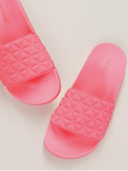 Comfort Open Toe Neon and Pink and Bright Triangle Detail Large Band Slide Footbed Sandals