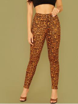 Casual Leopard Skinny Skinny Button Fly and Zipper Fly Mid Waist Multicolor Cropped Length Buttoned Leopard Suede Pants