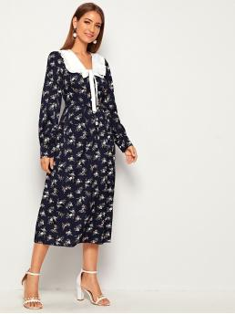 Casual A Line Ditsy Floral Straight Regular Fit Peter Pan Collar Long Sleeve Regular Sleeve High Waist Navy Long Length Contrast Panel Tie Front Ditsy Floral Shirt Dress