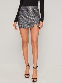 Glamorous and Sexy Pencil Plain High Waist Grey Mini Length Split Hem Sequin Bodycon Skirt
