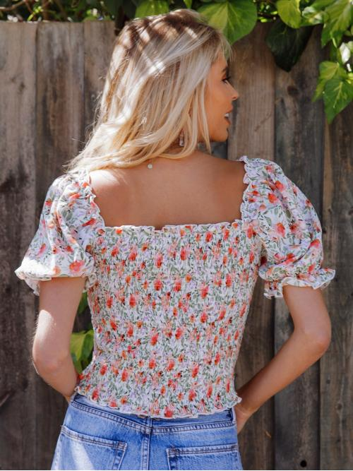 Cheap Short Sleeve Top Shirred Polyester Frill Trim Floral Print Top