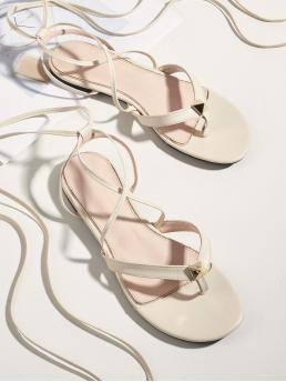 Beige Thong Sandals Studded Flat Decor Thong Sandals on Sale