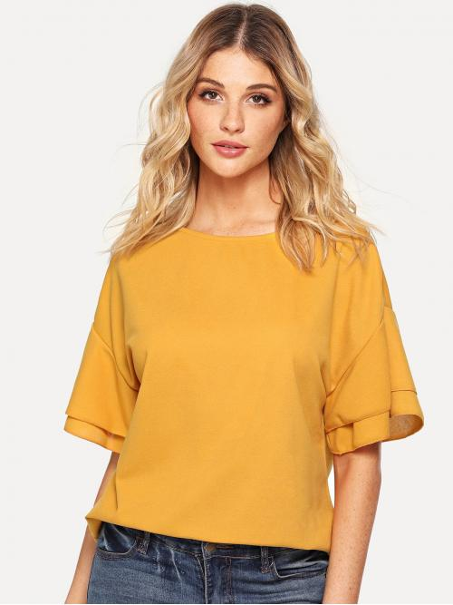 Women's Half Sleeve Top Tiered Layer Cotton Layered Sleeve Top