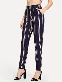 Casual Striped Tapered/Carrot Regular Elastic Waist Mid Waist Multicolor Long Length Elastic Waist Pinstripe Cigarette Pants