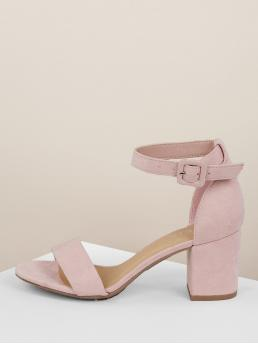 Business Casual Peep Toe Ankle strap Pink Mid Heel Chunky Vegan Suede Thin Ankle Strap Block Heels