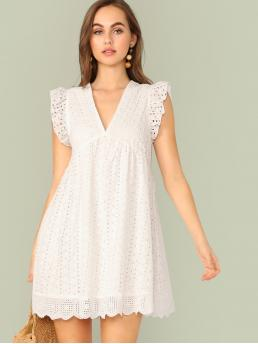 Cute and Boho Smock Plain Straight Loose V neck Sleeveless High Waist White Short Length Ruffle Armhole Eyelet Embroidered Smock Dress with Lining