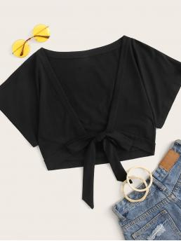Sexy Plain Regular Fit Deep V Neck Short Sleeve Placket Black Crop Length Solid Tie Front Crop Tee