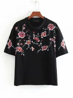 Casual Regular Fit Round Neck Short Sleeve Pullovers Black Regular Length Floral Embroidery Tee
