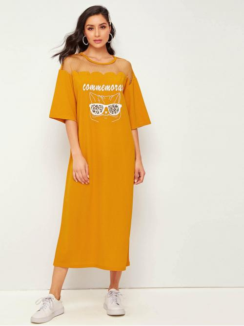 Casual Tee Letter and Cartoon Straight Loose Round Neck Three Quarter Length Sleeve Natural Yellow and Bright Long Length Mesh Yoke Graphic Print Tee Dress