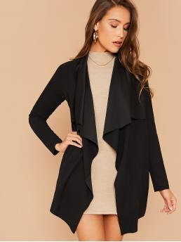 Womens Long Sleeve other Polyester Plain Collar Solid Coat