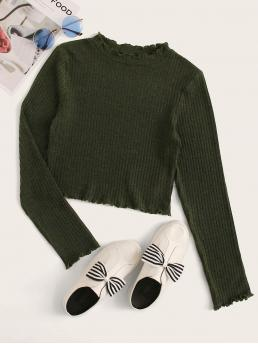 Elegant Plain Slim Fit Stand Collar Long Sleeve Pullovers Army Green Crop Length Lettuce Edge Rib-knit Tee