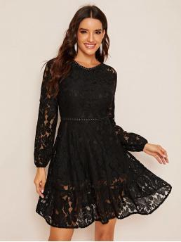 Sexy A Line Plain Flared Regular Fit Round Neck Long Sleeve Puff Sleeve High Waist Black Short Length Zip Back Sheer Lace A-line Dress with Lining