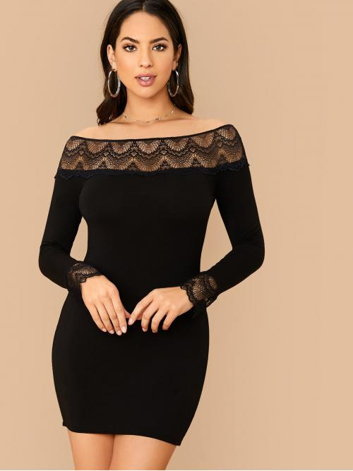 Elegant Bodycon Plain Pencil Slim Fit Off the Shoulder Long Sleeve Regular Sleeve Natural Black Short Length Lace Detail Bardot Bodycon Dress