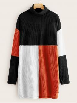 Casual Tee Colorblock Straight Loose High Neck Long Sleeve Regular Sleeve Natural Multicolor Short Length Turtle Neck Colorblock Rib-knit Tee Dress