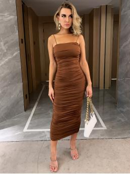 Elegant Bodycon Plain Pencil Slim Fit Spaghetti Strap Sleeveless Natural Brown Long Length Joyfunear Ruched Cami Bodycon Dress