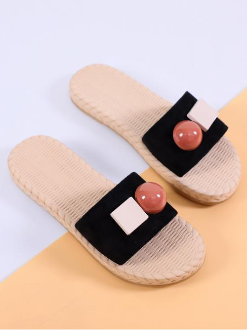 Slippers Plain Black Flat Open Toe Suede Slippers