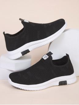 Women's Black Slip on Flat Low-top Lace-up Front Slip-on Sneakers
