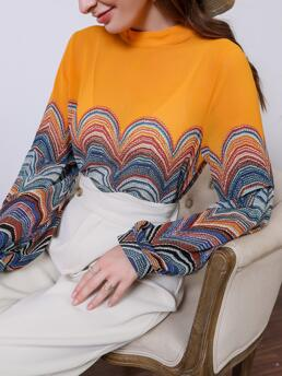 Women's Long Sleeve Top Polyester Graphic Mock Neck Blouse
