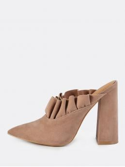 Elegant Point Toe Tan 4-4.75 Inch and High Heel Chunky Slip On Victorian Frill Mules TAUPE