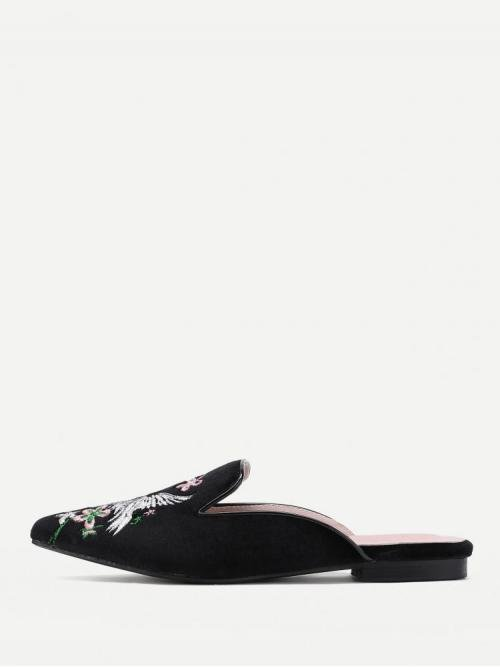 Corduroy Black Mules Embroidery Cranes and Flower Flat Beautiful