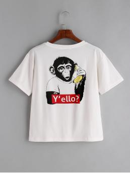 Casual Letter and Animal Regular Fit Round Neck Short Sleeve White Monkey Print Back T-shirt