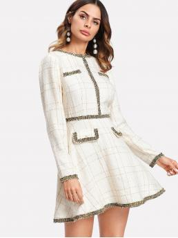 Elegant A Line Plaid Fit and Flare Flared Round Neck Long Sleeve Natural Beige Short Length Contrast Trim Grid Tweed Dress