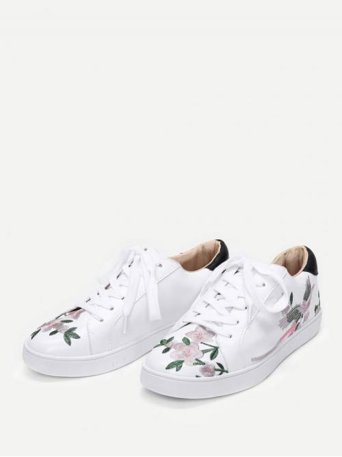 Sale Corduroy White Chunky Trainers Embroidery Calico Sneakers
